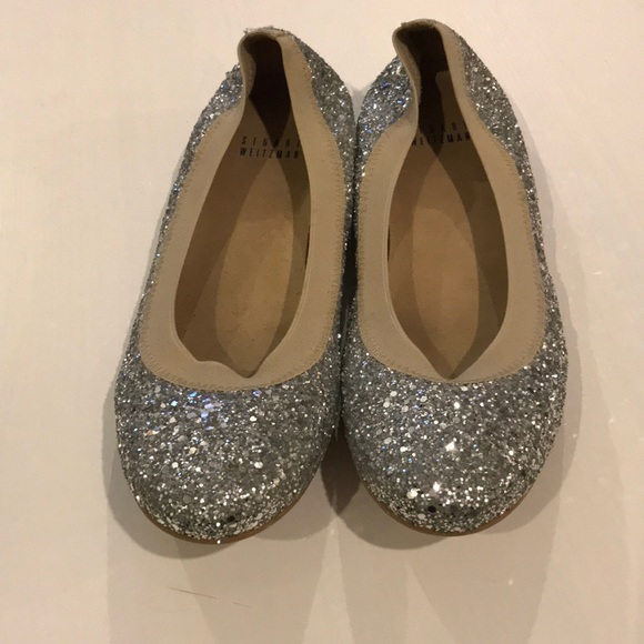 Stuart Weitzman 'Walk My Way' Silver Glitter Lace Up Espadrille Flats 7M